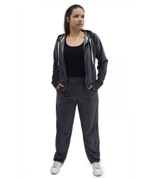 Conjunto Veludo Plush Butu Biru Plus Size Extra Grande - Cinza