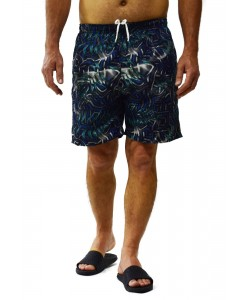SHORT TACTEL ESTAMPADO TROPICAL AZUL/CINZA - BUTU BIRU