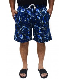 SHORT TACTEL ESTAMPADO FLORAL AZUL NEW - BUTU BIRU